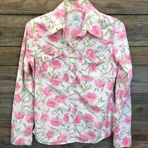 Lucky Brand Pink Floral Western Shirt M